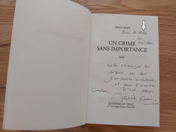 La dédicace d'Irène FRAIN « Un crime sans importance »